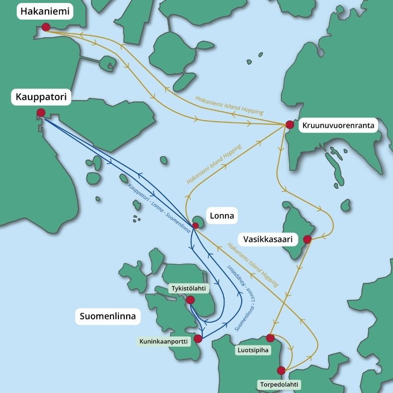 Kuva: Hakaniemi Island Hopping -reittikartta